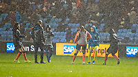 11th January 2020; Academy Stadium, Manchester, Lancashire, England; The FAs Women's Super League, Manchester City Women versus Everton Women; Everton Women's sub's warm up at half time in torrential rain at the Acadamy stadium in Manchester - Editorial Use