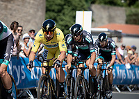 Yellow Jersey Peter Sagan (SVK/Bora Hansgrohe) and his team during their first Km of their TTT. <br /> <br /> <br /> Stage 3 (Team Time Trial): Cholet > Cholet (35km)<br /> <br /> 105th Tour de France 2018<br /> ©kramon