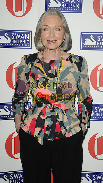 ANNA FORD.The Oldie Of The Year Awards at Simpsons On The Strand, London, England..February 10th, 2011.half length pink black beige green print gold charm necklace .CAP/CAN.©Can Nguyen/Capital Pictures.