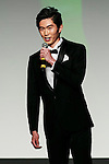 Mister Japan 2015, Junpei Watanabe, speaks to the audience during the finals of Mister Japan 2016 at Hotel Chinzanso Tokyo on March 1, 2016, Tokyo, Japan. Masaya Yamagishi from Kanagawa was elected Mister Japan 2016, and will compete in the next edition of Mister International. (Photo by Rodrigo Reyes Marin/AFLO)