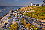 Pemaquid Point Lighthouse at sunrise in Bristol, ME