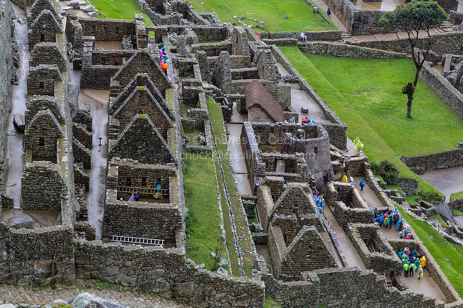 Peru, Machu Picchu.  Looking down on the temple of the Sun and the Royal Residence.