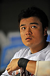 12 September 2008: Cleveland Indians' outfielder Shin-Soo Choo looks out from the dugout during a game against the Kansas City Royals at Progressive Field in Cleveland, Ohio. The Indians defeated the Royals 12-5 in the first game of their 4-game series...Mandatory Photo Credit: Ed Wolfstein Photo