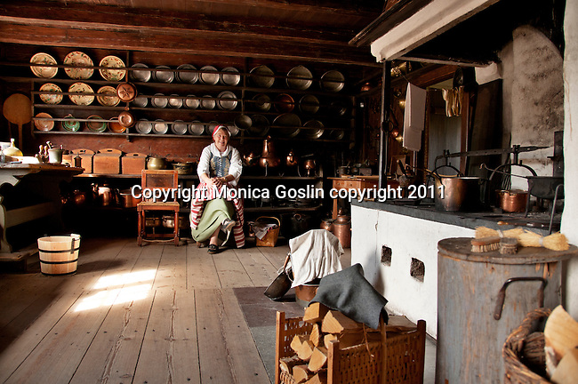 An example of the kitchen at the Skogholm Manor at Skansen in Stockholm, the outdoor museum of traditional Swedish buildings and farmsteads