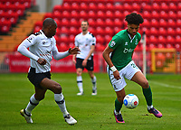 Lincoln City's Lee Angol gets past Gateshead's Emanuel Smith<br /> <br /> Photographer Andrew Vaughan/CameraSport<br /> <br /> Vanarama National League - Gateshead v Lincoln City - Monday 17th April 2017 - Gateshead International Stadium - Gateshead <br /> <br /> World Copyright &copy; 2017 CameraSport. All rights reserved. 43 Linden Ave. Countesthorpe. Leicester. England. LE8 5PG - Tel: +44 (0) 116 277 4147 - admin@camerasport.com - www.camerasport.com