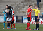 Rob Kiernan booked after the final whistle as he remonstrates with the referee
