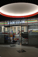 "7-11 convenience store, Tokyo, Japan. ""7-11 and i holdings"" are one of the few shops are doing well in Japan as people turn to cheap food and snack outlets.."