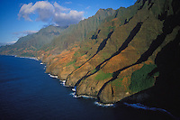 View towards Kalalau Valley Valley, Na Pali Coast State Park, afternoon light, aerial photo
