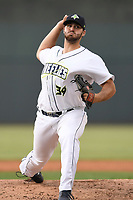 Pitcher Joseph Zanghi (39) of the Columbia Fireflies delivers a pitch in game one of a doubleheader against the Rome Braves on Saturday, August 19, 2017, at Spirit Communications Park in Columbia, South Carolina. Rome won, 8-2. (Tom Priddy/Four Seam Images)