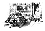 "(Giant tortoise in pet shop with ""Old Stock - Reduced to Clear"" painted on shell.)"
