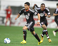 Rodney Wallace #22 of D.C. United follows Cristian Castillo #12 into the attack during an MLS match against the New England Revolution on April 3 2010, at RFK Stadium in Washington D.C.