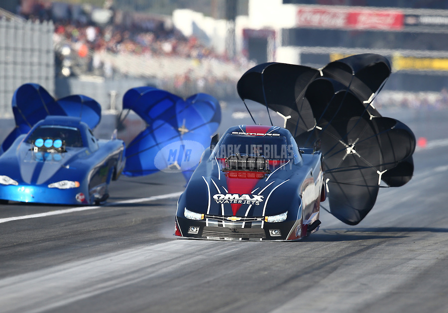 Feb 13, 2016; Pomona, CA, USA; NHRA top alcohol funny car driver Brian Hough during qualifying for the Winternationals at Auto Club Raceway at Pomona. Mandatory Credit: Mark J. Rebilas-USA TODAY Sports