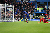 2nd February 2019, Stamford Bridge, London, England; EPL Premier League football, Chelsea versus Huddersfield Town; Eden Hazard of Chelsea shoots to score and make it 3-0 in the 66th minute