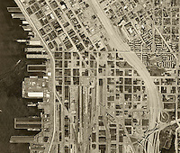 historical aerial photograph Seattle, Washington, 1969