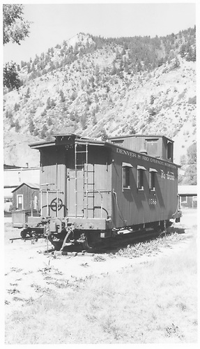 Caboose #0588 on display at Lake City, CO.<br /> D&amp;RGW  Lake City, CO  Taken by Maxwell, John W. - 8/16/1960