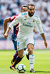 Daniel Carvajal Ramos of Real Madrid (front) fights for the ball with Ivan Lopez Alvarez, Ivi, of Levante UD (back) during the La Liga match between Real Madrid and Levante UD at the Estadio Santiago Bernabeu on 09 September 2017 in Madrid, Spain. Photo by Diego Gonzalez / Power Sport Images