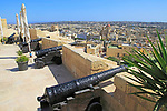 Cannons on ramparts of citadel castle Il-Kastell, Victoria Rabat, Gozo, Malta