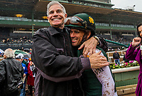 ARCADIA, CA - MARCH 10: An owner gives Javier Castellano a hug after the San Felipe Stakes at Santa Anita Park on March 10, 2018 in Arcadia, California. (Photo by Alex Evers/Eclipse Sportswire/Getty Images)