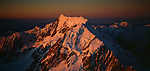 Aerial of sunset on Mount Cook. Mount Cook National Park. New Zealand.