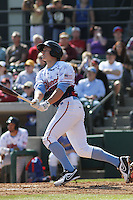 Myrtle Beach Pelicans outfielder Royce Bolinger #8 at bat during a game against the Wilmington Blue Rocks at Ticketreturn.com Field at Pelicans Ballpark on April 7, 2013 in Myrtle Beach, South Carolina. Wilmington defeated Myrtle Beach 7-2. (Robert Gurganus/Four Seam Images)