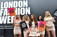 Dani Dyer arrives at London Fashion Week  show space for a guerrilla style stunt flanked by social influencers to kick start #TheManeEvent campaign. London, England on September 14, 2018.<br /> CAP/JOR<br /> &copy;JOR/Capital Pictures