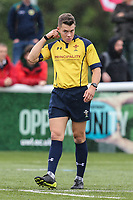 Match referee during the British & Irish Cup Final match between Ealing Trailfinders and Leinster Rugby at Castle Bar, West Ealing, England  on 12 May 2018. Photo by David Horn / PRiME Media Images.