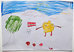 A refugee child's drawing depicts SpongeBob SquarePants amid the violence from which hundreds of thousands of Syrians have fled. The drawing was done by a child in a psycho-social support group in Kamid al lawz, a town in Lebanon's Bekaa Valley, where the International Orthodox Christian Charities and other members of the ACT Alliance are assisting refugees in a variety of ways..