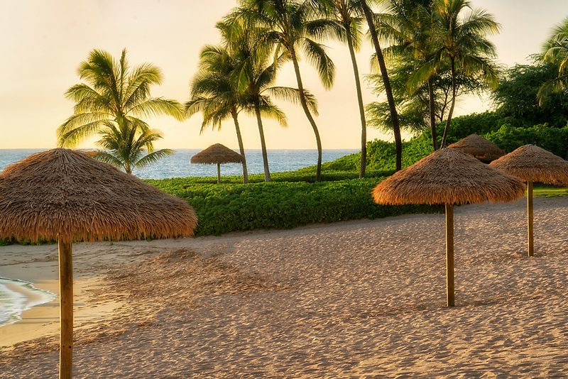 Beach and umbrellas. Ko Olina, Oahu, Hawaii