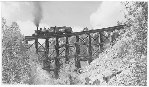 RGS #461 crossing Pleasant Valley Trestle near Valley View, CO following extra #455 for helpter service from Ophir to Lizard Head.<br /> RGS  near Valley View, CO  Taken by Kindig, Richard H.