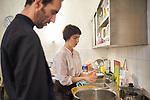 24/03/2017, Berlin, Synagogue Ryke Stra&szlig;e<br /> <br /> Preparations for shabbat dinner during Berlin Jewish Food Week 2017 by Itay Novik and Julia Bosski.<br /> <br /> &quot;The east european (ashkenazi) kitchen is not a glorious one. It was born from poverty and constraints which influenced its variety and creativity. The kompot, for example was a great solution for fruits long over their pick. Especially for Nosh Berlin, Chef and food designer Itay Novik will cook a modern interpretation from his own traditional cuisine. This dinner will be hosted by the Rykestrasse synagoge as an opportunity for Jewish and non Jewish guests to take part in this special event. &quot;