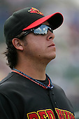 August 12 2008:  Pitcher Anthony Swarzak of the Rochester Red Wings, Class-AAA affiliate of the Minnesota Twins, during a game at Frontier Field in Rochester, NY.  Photo by:  Mike Janes/Four Seam Images