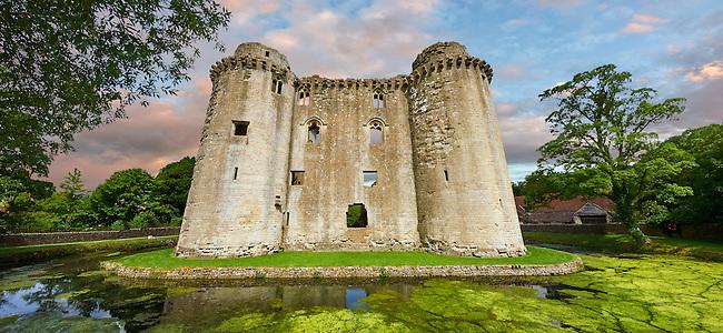 Nunney medieval moated castle, Nunney, Somerset England