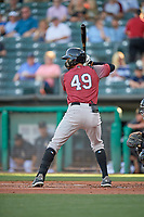 Aramis Garcia (49) of the Sacramento River Cats at bat against the Salt Lake Bees at Smith's Ballpark on July 18, 2019 in Salt Lake City, Utah. The Bees defeated the River Cats 9-6. (Stephen Smith/Four Seam Images)