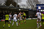 Second-half action as AFC Fylde (in white) took on Aldershot Town in a National League game at Mill Farm, Wesham. The fixture was played against the backdrop of the total postponement of all Premier League and EFL football matches due to the the coronavirus outbreak. The home team won the match 1-0 with first-half goal by Danny Philliskirk watched by a crowd of 1668.