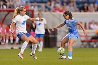 Bridgeview, IL - Saturday June 18, 2016: Kristie Mewis, Danielle Colaprico during a regular season National Women's Soccer League (NWSL) match between the Chicago Red Stars and the Boston Breakers at Toyota Park.