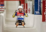 5 December 2015: Olena Stetskiv, competing for Ukraine, crosses the finish line on her second run of the Viessmann World Cup Women's Luge, with a combined 2-run time of 1:29.908 and a 20th place result at the Olympic Sports Track in Lake Placid, New York, USA. Mandatory Credit: Ed Wolfstein Photo *** RAW (NEF) Image File Available ***