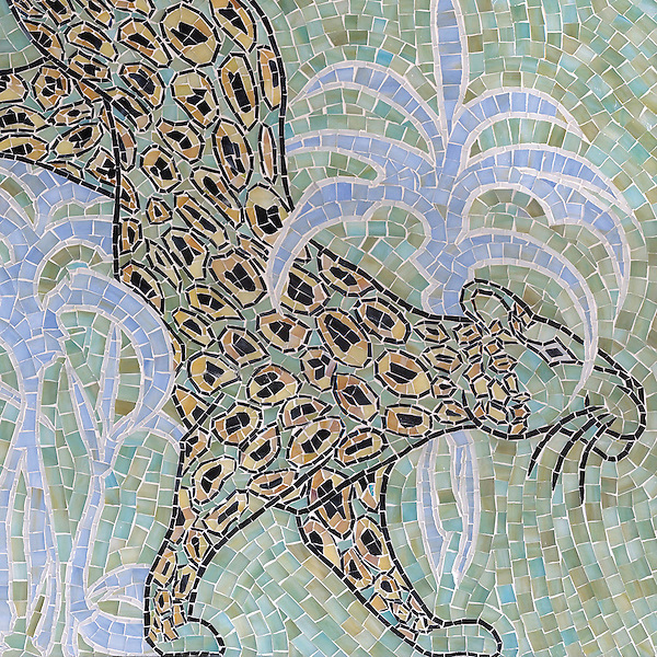 Leopard, a hand-cut jewel glass mosaic, is shown in  Chalcedony, Aquamarine, Quartz, Agate, Obsidian, is a design by Lotty Bunbury for New Ravenna Mosaics.
