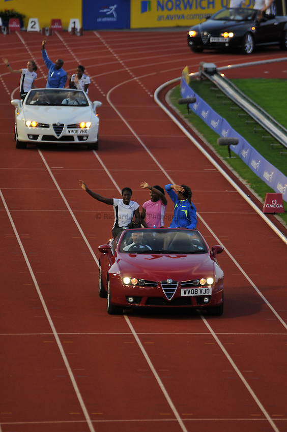 Photo: Tony Oudot/Richard Lane Photography. .Aviva London Grand Prix, Crystal Palace. 25/07/2008. .Team GB athletes and Alfa Romeo cars are paraded around the track at the end of the day.