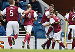 David Banjo celebrates his early goal for Arbroath