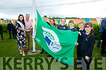 To Mark the 5th birthday of O'Brennan NS Kielduff new Building the raising of the  third Green Flag for water, the  Kerry Rose, Breda O'Mahony with Mike Sweeney (principal) and  Members of the Flag committee