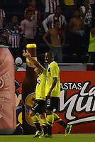 BARRANQUIILLA -COLOMBIA-01-09-2013. Sherman Cardenas (I) y Juan David Valencia (D) del Nacional celebran un gol durante partido contra Junior válido por la fecha 8 de la Liga Postobón II 2013 jugado en el estadio Metropolitano de la ciudad de Barranquilla./ Nacional players Sherman Cardenas (L) and Juan David Valencia (R) celebrates a goal against Junior during match valid for the 8th date of the Postobon League II 2013 played at Metropolitano stadium in Barranquilla city.  Photo: VizzorImage/Alfonso Cervantes/STR
