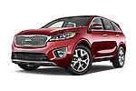 Stock pictures of low aggressive front three quarter view of 2017 KIA Sorento SX V6 AT 4WD 5 Door SUV Low Aggressive