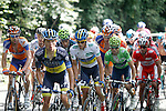 Alberto Contador (w), Alejandro Valverde (g) and Joaquin Purito Rodriguez (r) in the peloton during the stage of La Vuelta 2012 between La Robla and Lagos de Covadonga.September 2,2012. (ALTERPHOTOS/Paola Otero)
