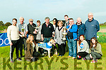Glin Coursing : The owners of Bexhill River, the winner of the Glin Derby & O'Connor Perpetual Cup pictured at the presentation at Glin Coursing on Sunday last. Standing : Fionn Geoghegan, John Barrett, Brian Divilly, Michael O'Shea, Conor Sheehan, Gigi Rocha, Maureen Sheehan, Brian Sheehan, John Culhane, Michael Sheehan & Brian Culhane. Front: Lillian Sheehan 7 Saoursa & Rosheen Culhane.