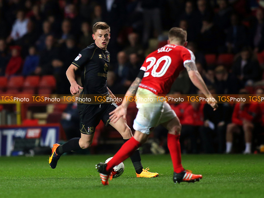 Harvey Barnes of MK Dons takes on Charlton's Chris Solly during Charlton Athletic vs MK Dons, Sky Bet EFL League 1 Football at The Valley on 4th April 2017