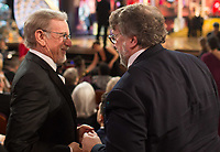 Steven Spielberg, Oscar&reg; nominee, and Guillermo del Toro, Oscar&reg; winner for best picture and achievement in directing, chat during the live ABC Telecast of the 90th Oscars&reg; at the Dolby&reg; Theatre in Hollywood, CA on Sunday, March 4, 2018.<br /> *Editorial Use Only*<br /> CAP/PLF/AMPAS<br /> Supplied by Capital Pictures