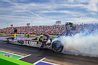 Oct 17, 2015; Ennis, TX, USA; NHRA top fuel driver Tony Schumacher during qualifying for the Fall Nationals at the Texas Motorplex. Mandatory Credit: Mark J. Rebilas-USA TODAY Sports