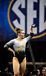 The SEC National Gymnastic Championship was held on Saturday March 24 at Chaifetz Arena on the Saint Louis University campus. Mizzou&rsquo;s Morgan Porter in the floor competition.<br />
