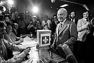 "20 May 1980, Montreal, Quebec, Canada --- Leader of the Parti Québécois, René Lévesque, during a press conference of the 1980 Quebec referendum on sovereignty against Claude Ryan's Canadian Liberal Party. Lévesque would lose the ""Yes"" vote by 40.5% against 59.5%. --- Image by © JP Laffont"