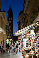 Greece, Corfu, Corfu-Town (Kerkyra): Night shot along shopping street and Church of Saint Spyridon
